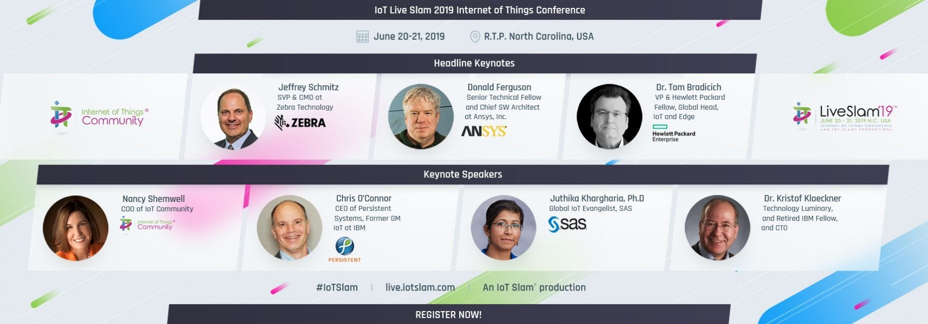 IoT Slam Live 2019 Internet of Things Conference Keynote Speakers